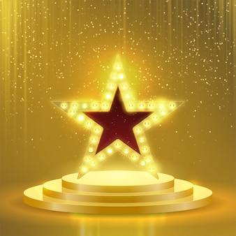 Insegna delle lampade della lampadina del podio della stella