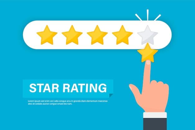 Valutazione a stelle mano dell'uomo d'affari che dà una valutazione a cinque stelle recensione della valutazione del prodotto del cliente a cinque stelle