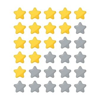 Icona piatta di valutazione a stelle per app e siti web. recensione di valutazione del prodotto da parte dei clienti con cinque stelle. tasso di progettazione. vettore cinque stelle