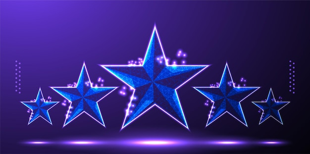 Rete wireframe low poly con valutazione a stelle