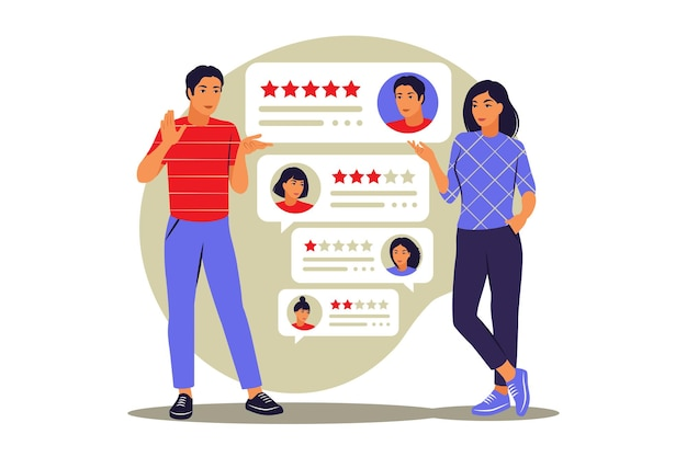 Stelle. recensioni in linea. concetto di feedback. illustrazione vettoriale. appartamento.