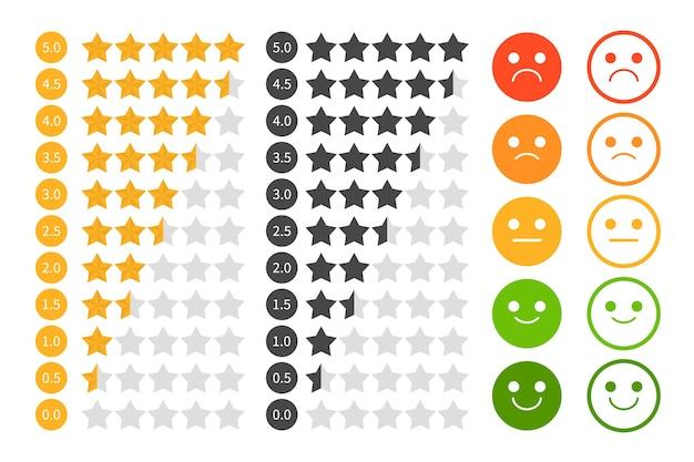 Set di valutazione a stelle. valutazione tramite emoji.