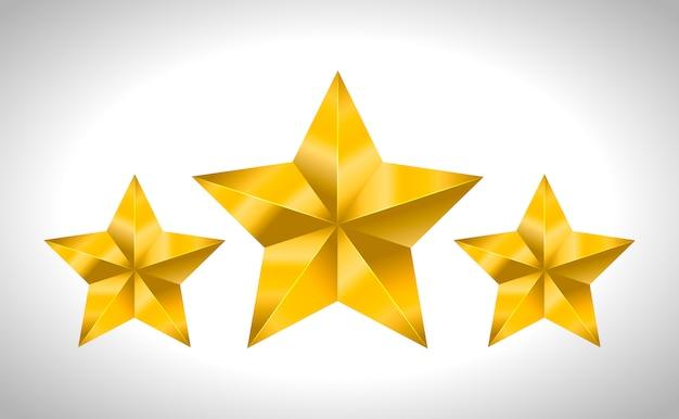Stella giallo dorato metallico metallico realistico 3d