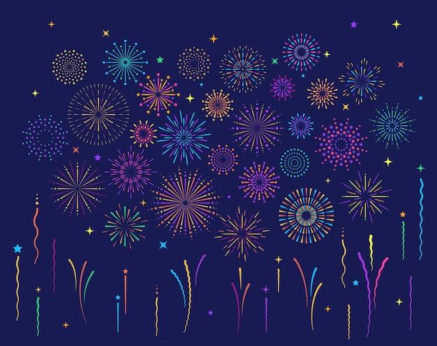Il modello di esplosione di fuochi d'artificio colorati a forma di stella ha impostato la composizione piatta della collezione di modelli di fuochi d'artificio