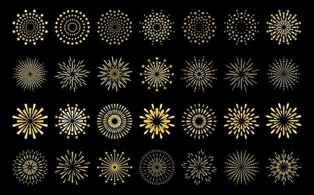 Modello di esplosione di fuochi d'artificio d'oro a forma di stella impostato modello di fuochi d'artificio a forma di stella in stile art deco piatto
