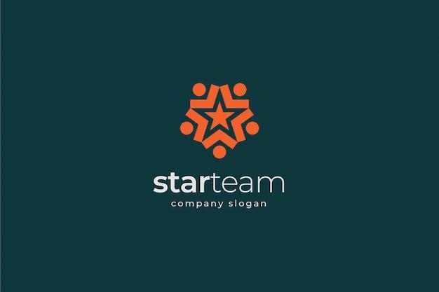 Modello di logo di lavoro di squadra stella
