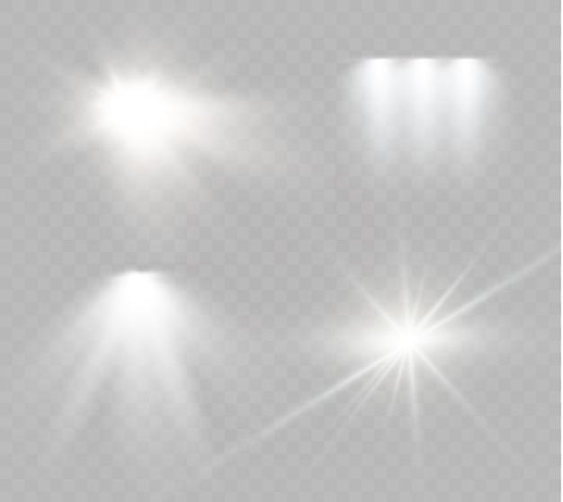Star su uno sfondo trasparente, effetto della luce, illustrazione. scoppiò di scintillii