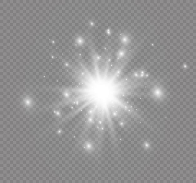 Stella su uno sfondo trasparente, effetto luce