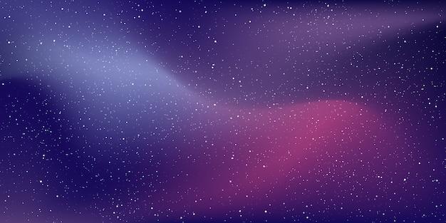Universo stellare e polvere di stelle sullo sfondo dello spazio profondo e galassia della via lattea nella notte con la nebulosa nel cosmo.