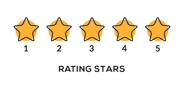 Icona di recensione tasso vettoriale 5 stelle. classificazione dei simboli dell'oro di qualità della riga gialla a cinque stelle.