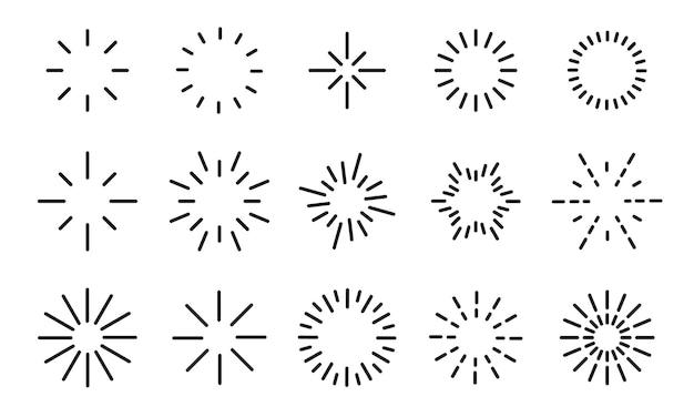 Set di icone starburst. sprazzi di sole, effetti di esplosione, fuochi d'artificio luminosi