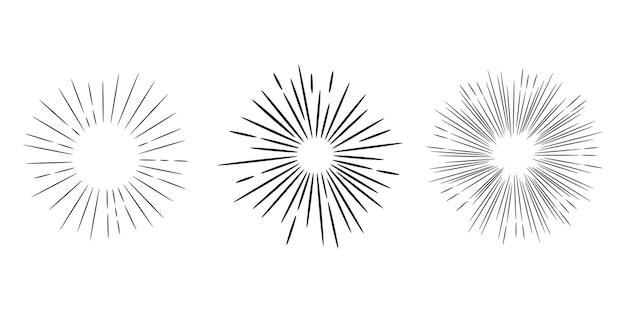 Starburst, raggera disegnata a mano. raggi neri dei fuochi d'artificio dell'elemento di disegno. effetto esplosione comica. radiante, linee radiali.