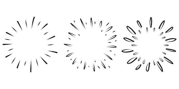 Starburst, raggera disegnata a mano. raggi neri dei fuochi d'artificio dell'elemento di progettazione. effetto esplosione comica. radiante, linee radiali.