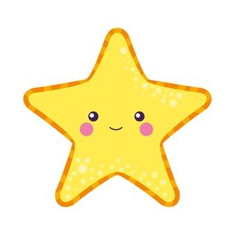 Cartone animato di stelle marine isolato su sfondo bianco