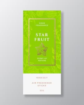 Starfruit profumo per la casa astratto vettore modello di etichetta schizzo disegnato a mano fiori foglie sfondo ...
