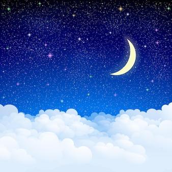 Cielo stellato con illustrazione di nuvole