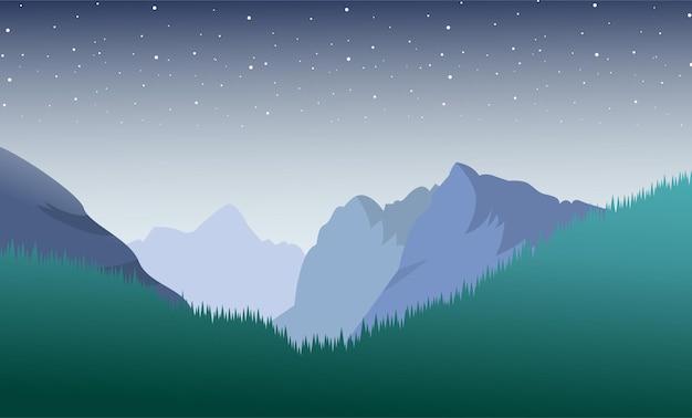 Paesaggio di montagna stellato in illustrazione vettoriale stile piatto