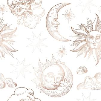 Cielo notturno stellato modello senza cuciture alla moda, modello di sfondo disegnato a mano celeste vintage di galassia, spazio, stelle per design, trama, tessuto, decorazione. illustrazione in vettoriale