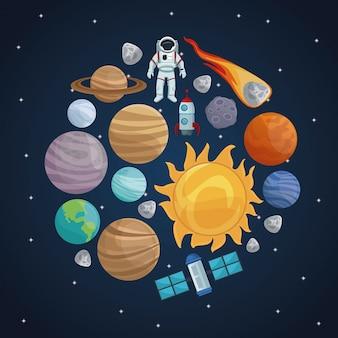 Sfondo del cielo stellato con icone spazio e pianeti