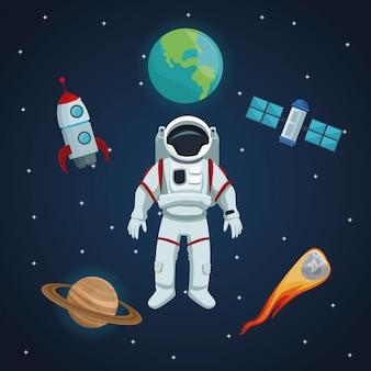 Sfondo del cielo stellato con icone nello spazio e nei pianeti