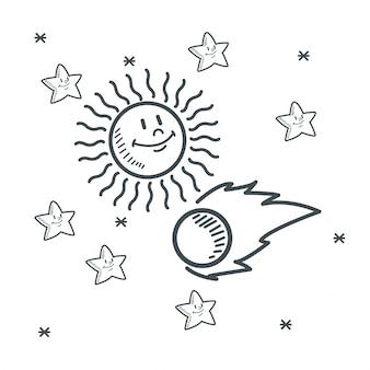 Disegno di schizzo dello spazio del sole dell'asteroide delle stelle