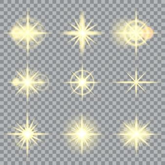 Stelle scoppia scintillii gialli e illustrazione di effetti di luce incandescente