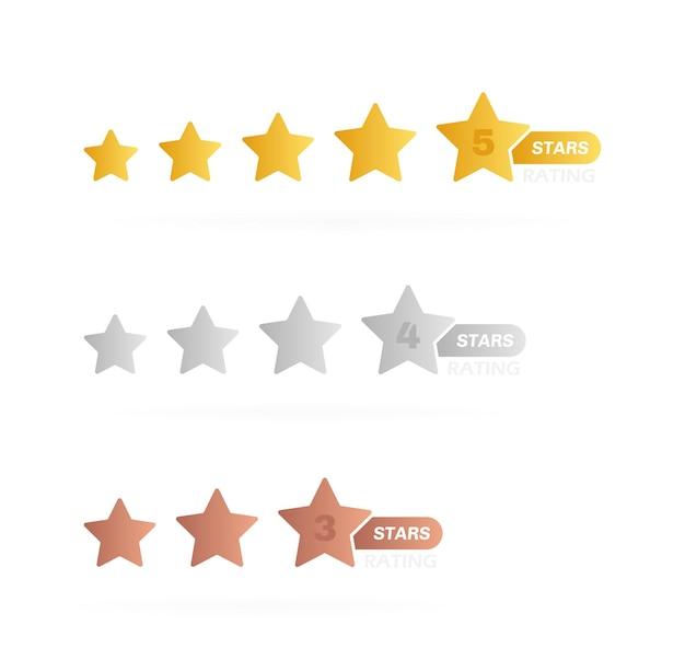 Etichetta di stelle con diverso livello di valutazione. cinque, quattro e tre stelle. recensione di valutazione del prodotto del cliente.