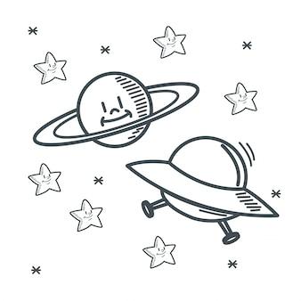 Progettazione di schizzo dello spazio del ufo del pianeta delle stelle