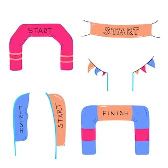 Inizia e finisci striscioni o bandiere per eventi sportivi all'aperto. illustrazione vettoriale di gara di concorrenza