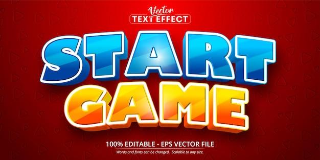 Avvia il testo del gioco, effetto di testo modificabile in stile cartone animato