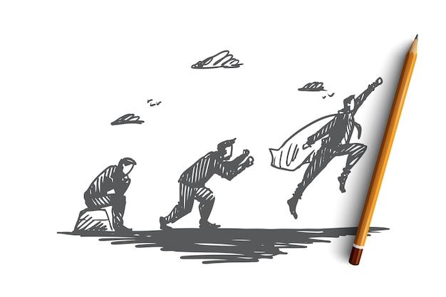 Start-up, uomo d'affari, supereroe, idea, concetto di sviluppo. uomo disegnato a mano in capo del supereroe che si muove in avanti schizzo di concetto