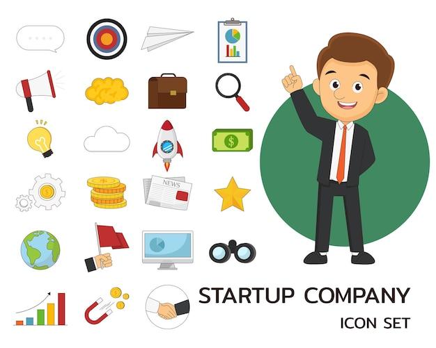 Avvia icone piatte di concetto di azienda