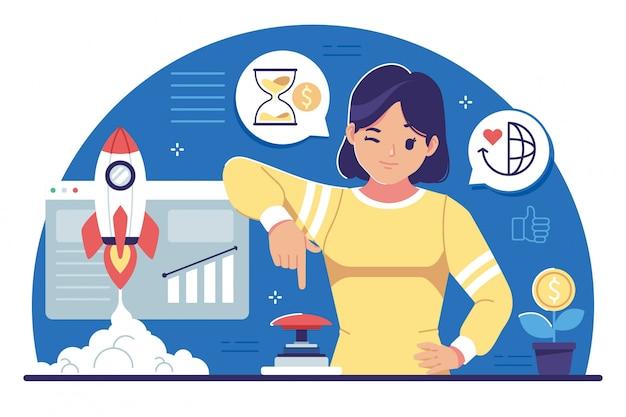 Avviare illustrazione design piatto di concetto