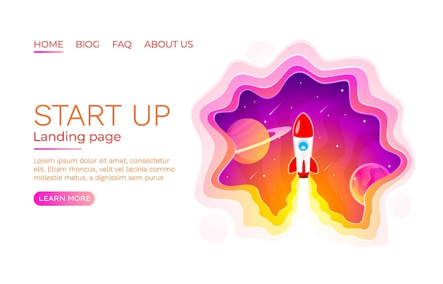 Idea di avvio schermata della pagina di destinazione, tecnologia di sviluppo, razzo.
