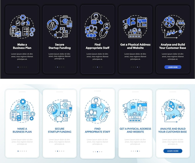Avvia la schermata della pagina dell'app mobile onboarding