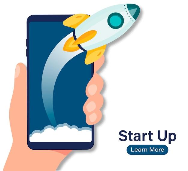 Avvia il telefono rocket. lancio di razzi da smartphone, progetto di avvio di concept business. idea di avvio di un progetto imprenditoriale di successo, potenziamento della tecnologia, strategia di innovazione
