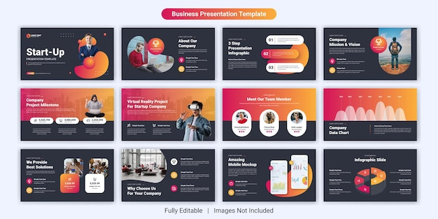 Set di modelli di diapositive di presentazione aziendale di avvio