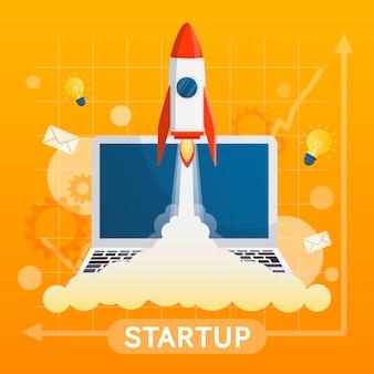 Concetto startup con elemento vettoriale su sfondo giallo