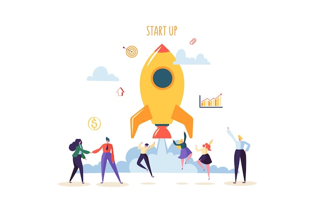 Concetto di avvio con caratteri felici di salto. gente di affari piana che lancia razzo. avvio di successo di un nuovo progetto.