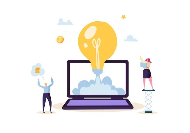 Concetto di avvio con lampadina e personaggi felici. gente di affari piana che lancia razzo dal computer portatile. avvio di successo di un nuovo progetto.