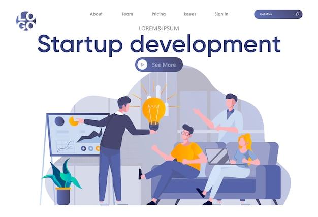 Pagina di destinazione dello sviluppo all'avvio con intestazione. i fondatori di startup pianificano la strategia e gli obiettivi per la crescita del progetto in ambito ufficio. illustrazione piatta situazione di coworking, lavoro di squadra e creatività.