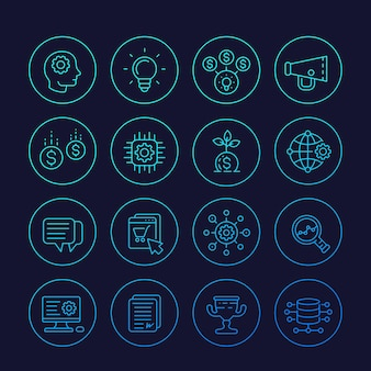 Icone di avvio, processo creativo, idea, capitale iniziale, e-commerce, vettore di linea