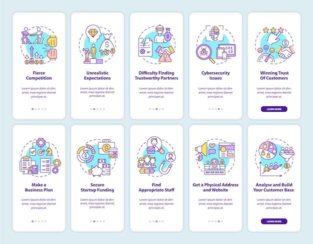 Avvio avvio set di schermate della pagina dell'app mobile onboarding. avvio della procedura dettagliata 5 passaggi istruzioni grafiche con concetti. modello vettoriale ui, ux, gui con illustrazioni a colori lineari