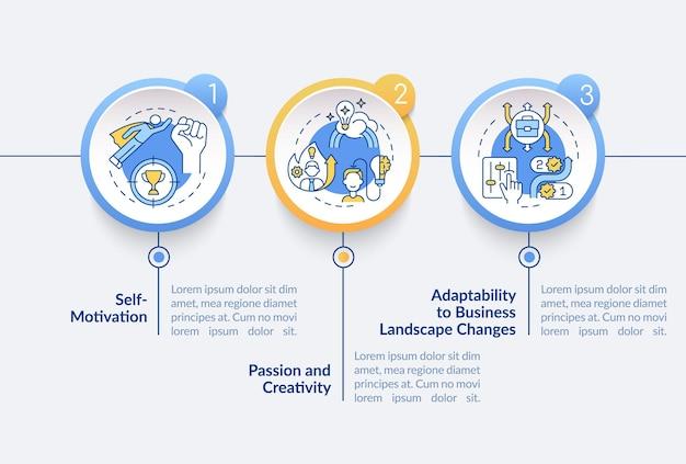 Modello di infografica di vettore di requisiti di lancio di avvio. elementi di design del profilo di presentazione aziendale. visualizzazione dei dati con 3 passaggi. grafico delle informazioni sulla sequenza temporale del processo. layout del flusso di lavoro con icone di linea