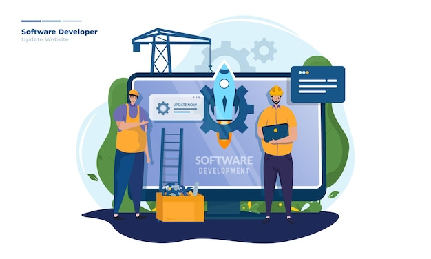 Illustrazione dello sviluppatore di software di avvio
