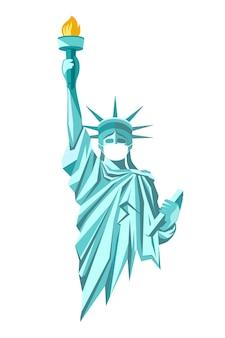 Stato di libertà con maschera facciale bianca