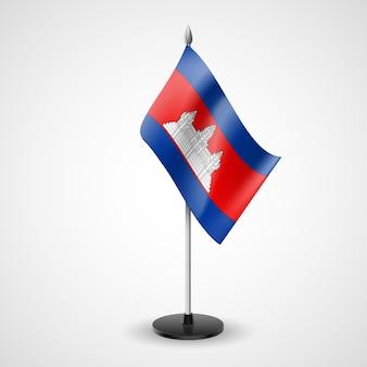 Stato di bandiera da tavolo della cambogia. simbolo nazionale