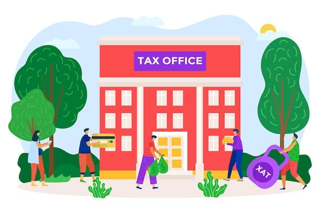 Il dipartimento delle tasse statali che costruisce le persone contribuenti di carattere insieme pagano l'addebito per l'ufficio piatto vecto ...
