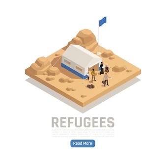 Illustrazione isometrica di asilo di rifugiati apolidi con tenda del campo di accoglienza e persone