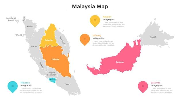 Stati e territori federali della malesia. mappa del paese con indicazione delle divisioni amministrative, dei confini regionali. modello di progettazione infografica. illustrazione vettoriale piatto per guida di viaggio, sito web.